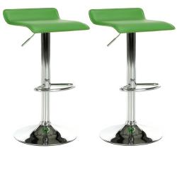 2 kusy, barová stolička, ekokoža zelená/chróm, LARIA NEW