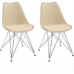 2 kusy, stolička, capuccino-béžová/chróm, METAL 2 NEW
