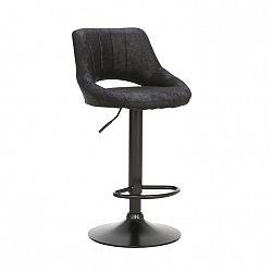Barová stolička, čierna látka s efektom brúsenej kože, LORASA