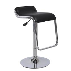 Barová stolička, ekokoža čierna/chróm, ILANA NEW