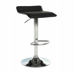 Barová stolička, ekokoža čierna/chróm, LARIA NEW