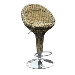 Barová stolička, ratan hnedý/chróm, RANGEL