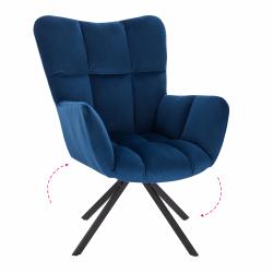 Dizajnové otočné kreslo, modrá Velvet látka/čierna, KOMODO