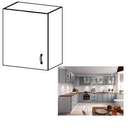 Horná skrinka, biela/sivá matná, ľavá, LAYLA G601F