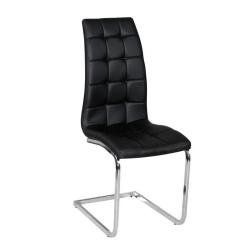 Jedálenská stolička, čierna ekokoža, chróm, DULCIA
