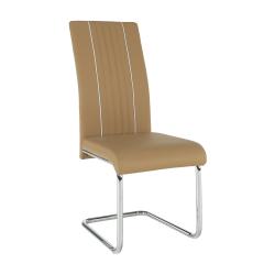 Jedálenská stolička, ekokoža béžová/biela/chróm, LESANA, rozbalený tovar