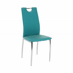 Jedálenská stolička, ekokoža petrolejová/chróm, OLIVA NEW, rozbalený tovar