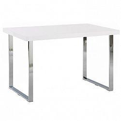 Jedálenský stôl, biela HG/chróm, TALOS, poškodený tovar