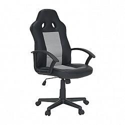Kancelárske kreslo, ekokoža čierna/sivá sieťovina, LANDON