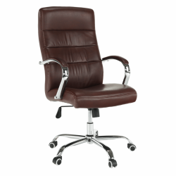 Kancelárske kreslo, hnedá/chróm, CABELA 2 NEW