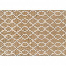 Koberec, béžová/vzor v slonovinovej, 100x150, NALA