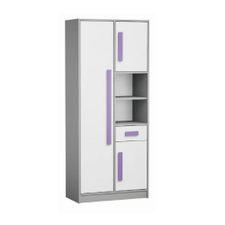 Kombinovaná skriňa, biela/sivá/fialová, PIERE P03