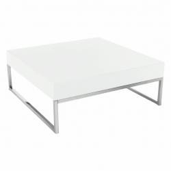 Konferenčný stolík, chróm/biela extra vysoký lesk HG, BOTTI
