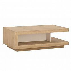 Konferenčný stolík LYOT01, dub riviera/biela s extra vysokým leskom, LEONARDO