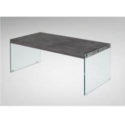 Konferenčný stolík, tvrdené sklo/MDF, vzor drevo, BOJAN
