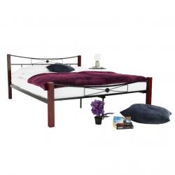 Kovová posteľ, drevo orech/čierny kov, 160x200, PAULA, rozbalený tovar