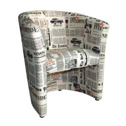 Kreslo, látka vzor noviny, CUBA