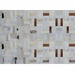 Luxusný kožený koberec, biela/sivá/hnedá, patchwork, 140x200, KOŽA TYP 1