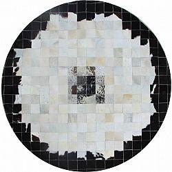 Luxusný kožený koberec, čierna/béžová/biela, patchwork, 150x150, KOŽA TYP 9