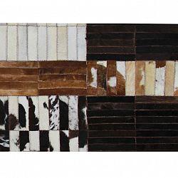 Luxusný kožený koberec, čierna/hnedá/biela, patchwork, 141x200, KOŽA TYP 4