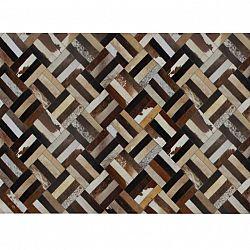 Luxusný kožený koberec, hnedá/čierna/béžová, patchwork, 120x180 , KOŽA TYP 2