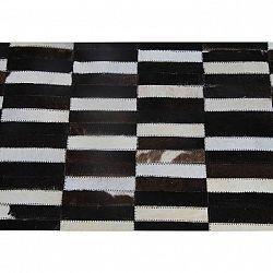 Luxusný kožený koberec,  hnedá/čierna/biela, patchwork, 69x140, KOŽA TYP 6