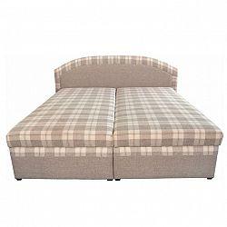 Manželská posteľ, béžová/vzor karo, 180x200, LUCIA