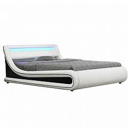 Manželská posteľ s RGB LED osvetlením, biela/čierna, 180x200, MANILA NEW