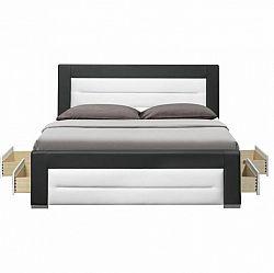 Manželská posteľ s roštom a šuplíkmi, ekokoža čierna/biela, 160x200, NAZUKA