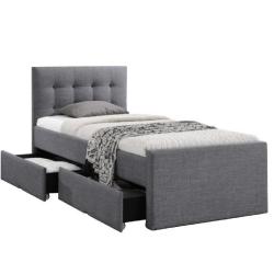Moderná posteľ, sivá, 90x200, VISKA NEW