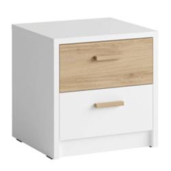 Nočný stolík (2 ks), biela/dub divoký, SIMPLA