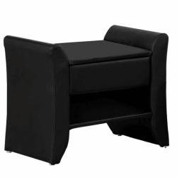 Nočný stolík, čierna ekokoža, BOLTON