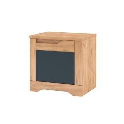 Nočný stolík, dub craft zlatý/grafit sivá, pravá, FIDEL X2