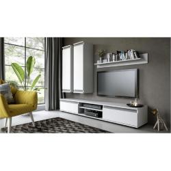 Obývacia stena, biela/sivá, REGIA