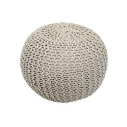Pletený taburet, krémová bavlna, GOBI TYP 1