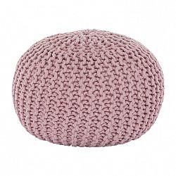 Pletený taburet, púdrová ružová bavlna, GOBI TYP 2