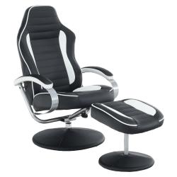 Relaxačné kreslo, biela/čierna, ALDAMIR