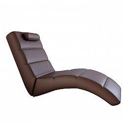Relaxačné kreslo, hnedá ekokoža, LONG