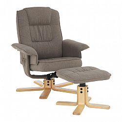 Relaxačné kreslo s podnožou, hnedosivá, LERATO