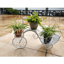 RETRO kvetináč v tvare bicykla, biela, ALENTO