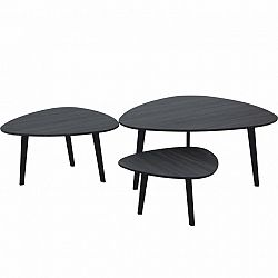 Sada 3 konferenčných stolíkov, sivé drevo/kov, LADON