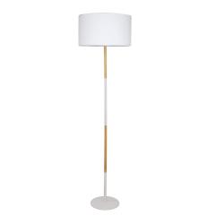 Stojacia lampa, biely hliník/vzor dreva, CINDA TYP 20 YF6046