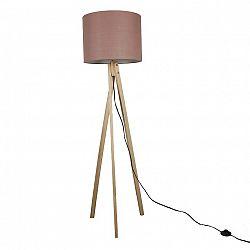 Stojacia lampa, Taupe hnedá/prírodné drevo, LILA TYP 8 LS2062