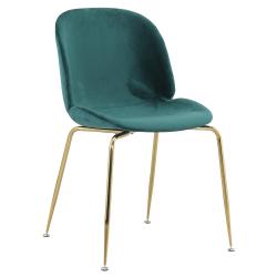 Stolička, látka Velvet zelená/gold chróm-zlatá, PORTIA