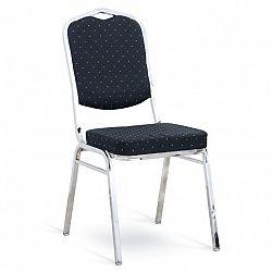 Stolička, stohovateľná, látka čierna vzor/chróm, LEJLA NEW, poškodený tovar