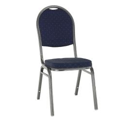Stolička, stohovateľná, látka modrá/sivý rám, JEFF 2 NEW, poškodený tovar