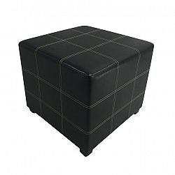 Taburet, čierna textilná koža, NELA NEW