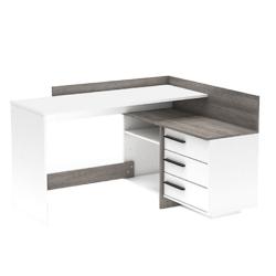 Univerzálny PC stôl, rohový, biela/dub trufel prata, TALE NEW, poškodený tovar