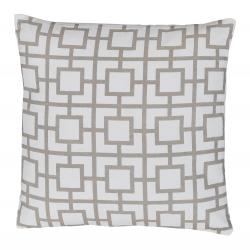 Vankúš, bavlna/biela/sivohnedá taupe/vzor, 45x45, NOVEL TYP 1