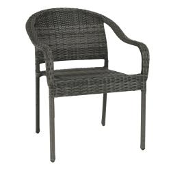 Záhradná stohovateľná stolička, sivá, BINGA